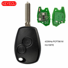 Keyecu Remote Car Key 2 buttons 433MHz PCF7961M HITAG AES Chip Replacement for Renault Uncut HU136TE Blade