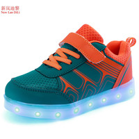 Kids Luminous Sneakers New Spring Breathable Sports Shoes Boys Girls USB Charger Led Light Shoes For