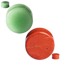 2PAIRS Organic Natural Stone Ear Gauges Ear Plugs Double Flared Piercing 2g-5/8