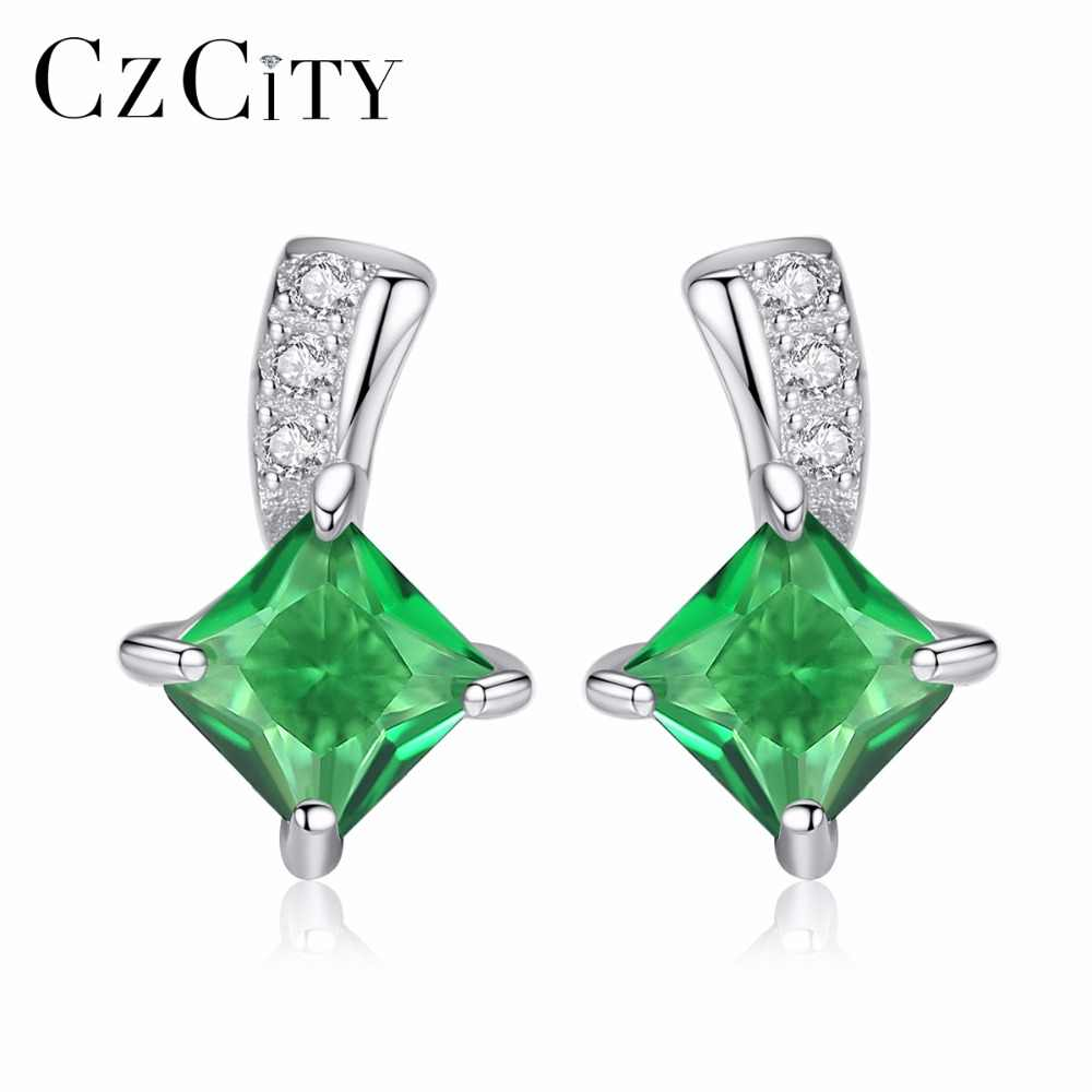 CZCITY Brand Cute Green Square Cubic Zirconia Crystal Silver Earrings Lady Small Stud Emerald Earrings for Women Fine Jewelry