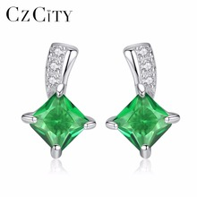 CZCITY Brand Cute Green Square Cubic Zirconia Crystal Silver Earrings Lady Small Stud Emerald for Women Fine Jewelry