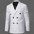 2016 Autumn Men's Plaid Double-breasted Long Sleeve Suit Casual Dress Men Blazer Slim Dress White Groom Suits