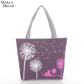 New Fashion Canvas Printed Flowers Zipper Women Handbag 1