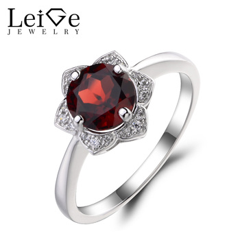 Leige Jewelry Natural Garnet Engagement Wedding Rings 925 Sterling Silver Ring Round Cut Red Gemstone January Birthstone Rings