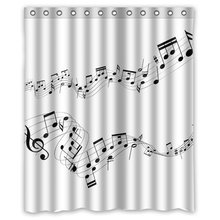 Memory Home Bathroom Decration Shower Curtain Music Notes Waterproof Polyester Fabric Bath Curtain Bathroom Product White