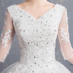 Image 5 - EZKUNTZA 2019 ใหม่ V เซ็กซี่ V คอต่อท้ายแต่งงานชุดดอกไม้หวานเจ้าหญิงสีขาว Lace Up Slim ชุดแต่งงาน Casamento L
