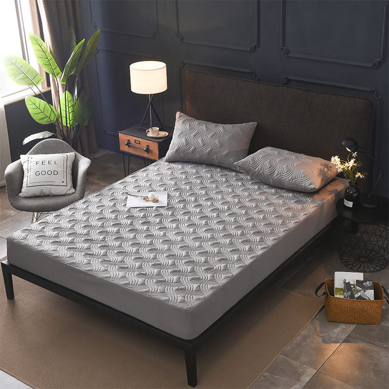 Jacquard Cotton All Inclusive Cover Detachable Anti-Mite Mattress Bed Padded Quilted Bed Mattress Cover Non-Slip Dust Soft Pad