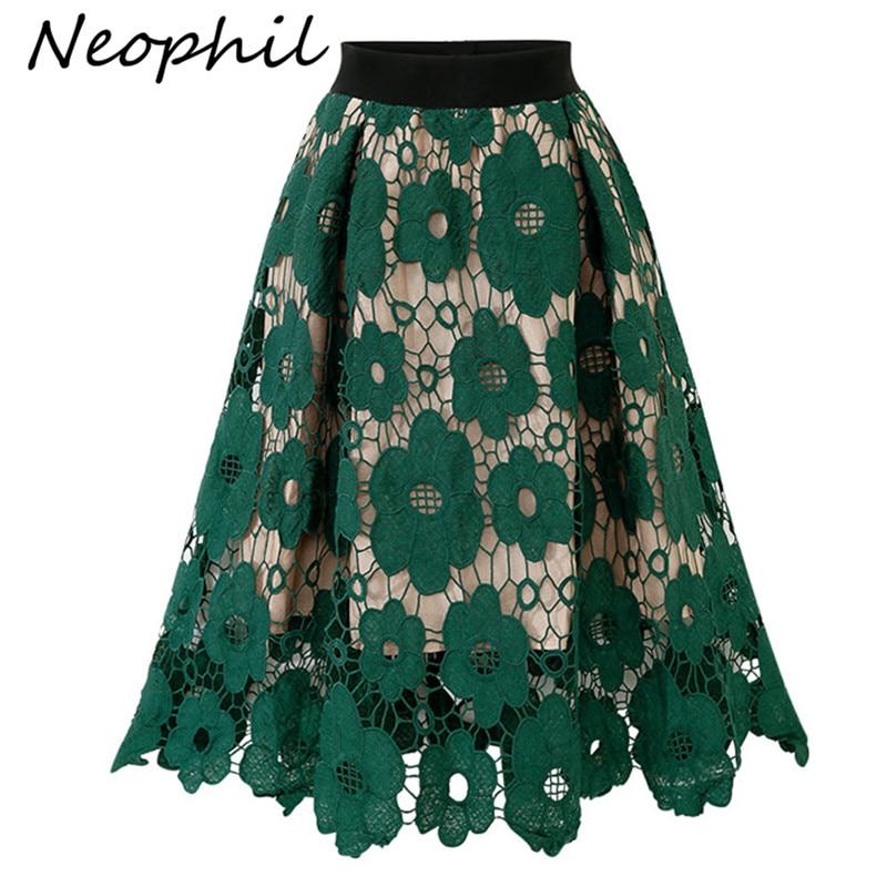 Neophi 2019 Fashion Summer High Waist Midi Skirt Lace Embroidered Flower Pleated Party Elegant Vintage Midi Skirts Saia S1973