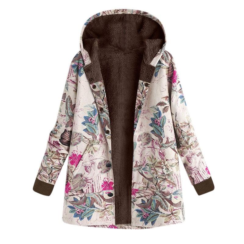 Winter Vintage Floral Print Women Clothing Hooded Fleece Basic Jacket Coat Female Warm Pocket Oversize Outwear Plus Size DG356