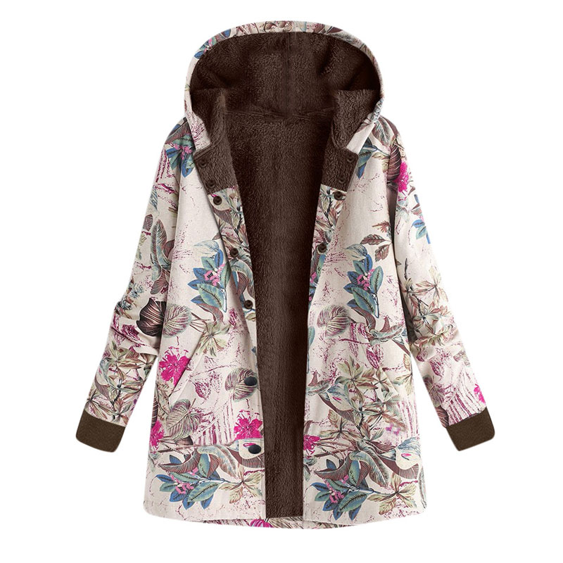 Winter Vintage Floral Print Women Clothing Hooded Fleece   Basic     Jacket   Coat Female Warm Pocket Oversize Outwear Plus Size DG356