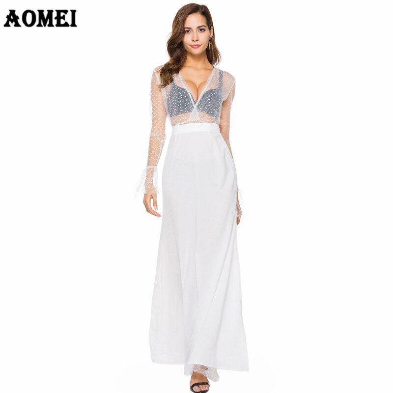 Белое Тюлевое платье в стиле пэчворк с длинными рукавами сексуальное прозрачное вечернее Клубное платье с высоким разрезом без спинки 2019