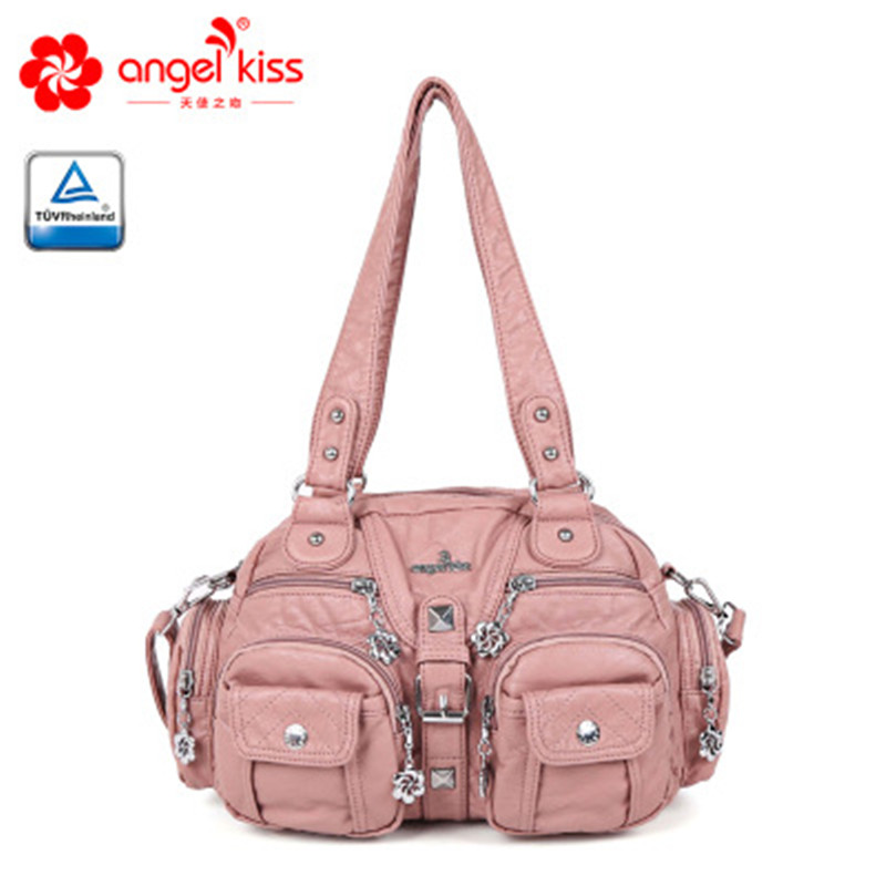 New women s bag European and American women s shoulder portable Messenger bag solid color fashion