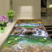 Free Shipping Realistic Landscape waterfalls 3D floor painting living room conference hall wear floor wallpaper mural