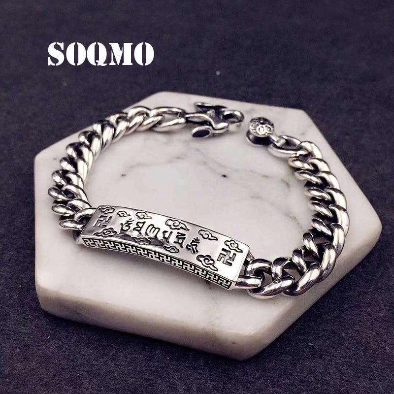 SOQMO Men Women Bracelet 100% 925 sterling silver Ethnic Buddhist Heart Sutra Bracelet Bangle Christmas gift fine jewelry SQM130 soqmo men women bracelet 100
