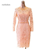 ruthshen New Arrival Mother Of The Bride Wedding Party Evening Dress with Long Sleeves Lace Prom Gowns Vestido De Madre Novia