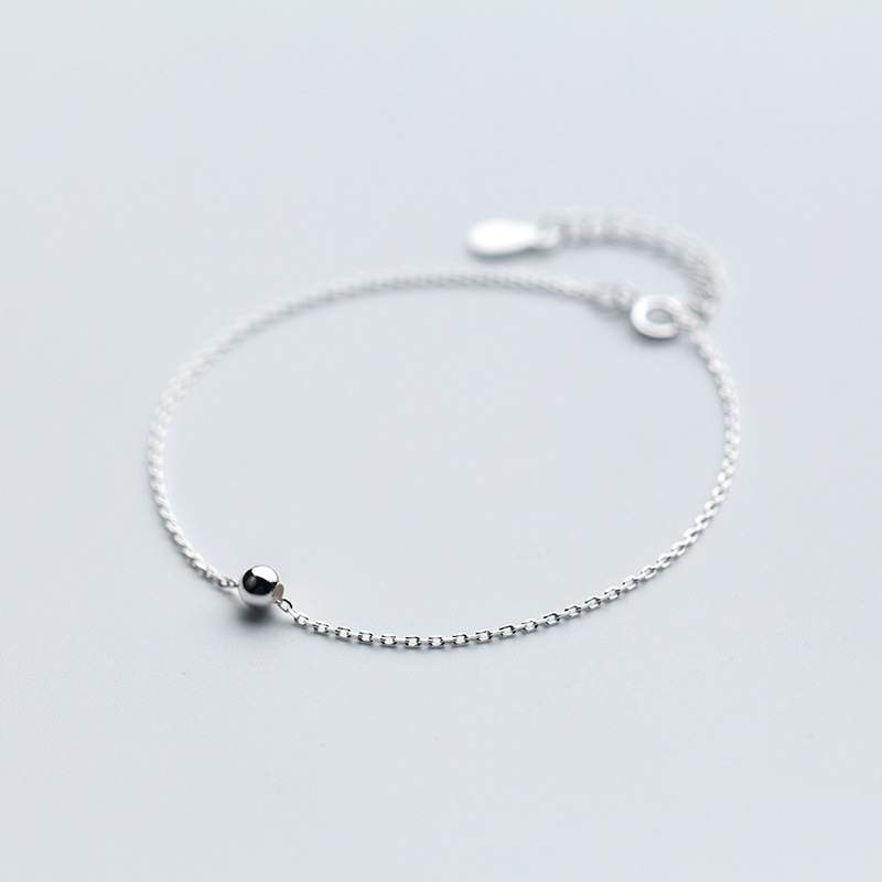 (Very Thin simple) 100% Real. 925 Sterling Silver Fine Jewelry 4mm Polished Round Bead chain Bracelet GTLS498 ...