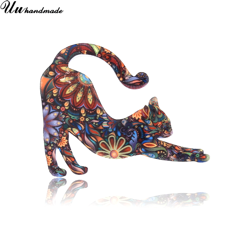 Cute Cat Acrylic Brooches for Women Brooch Fashion Lapel Pin Hijab Pins Broches Broche <font><b>Bts</b></font> Accessories New 2018 Kids Jewelry image