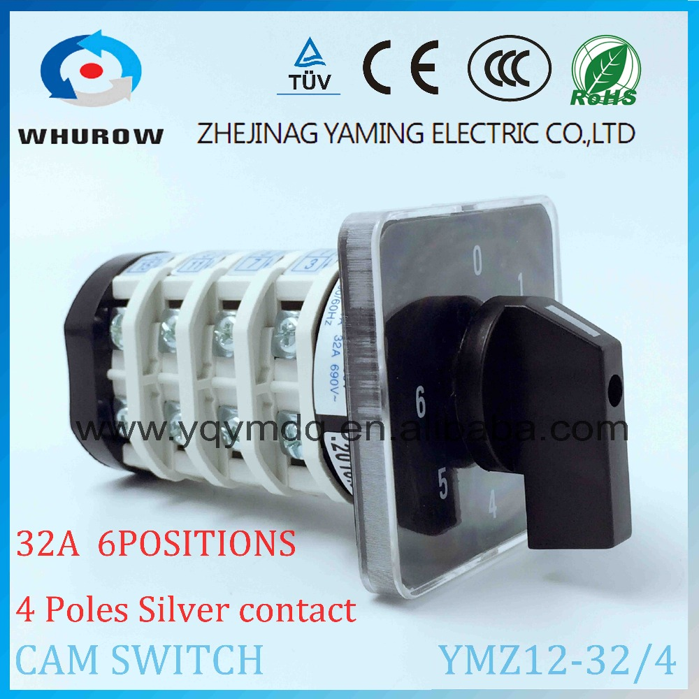 Rotary switch YMZ12-32/4 electrical Combination Changeover cam switch 32A 4 pole 0-6 position sliver contacts high voltage rotary switch ymz12 25 4 changeover cam combination switch 4 poles 8 positions 14 terminals 25a ui 690v sliver point contacts