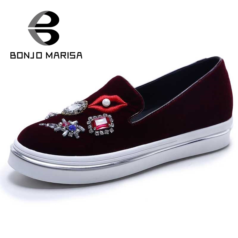 ФОТО Rhinestone Flock Wedge Vulcanize Shoes Woman Bordered Rubber Sole Slip On School student's Style Shopping Shoes