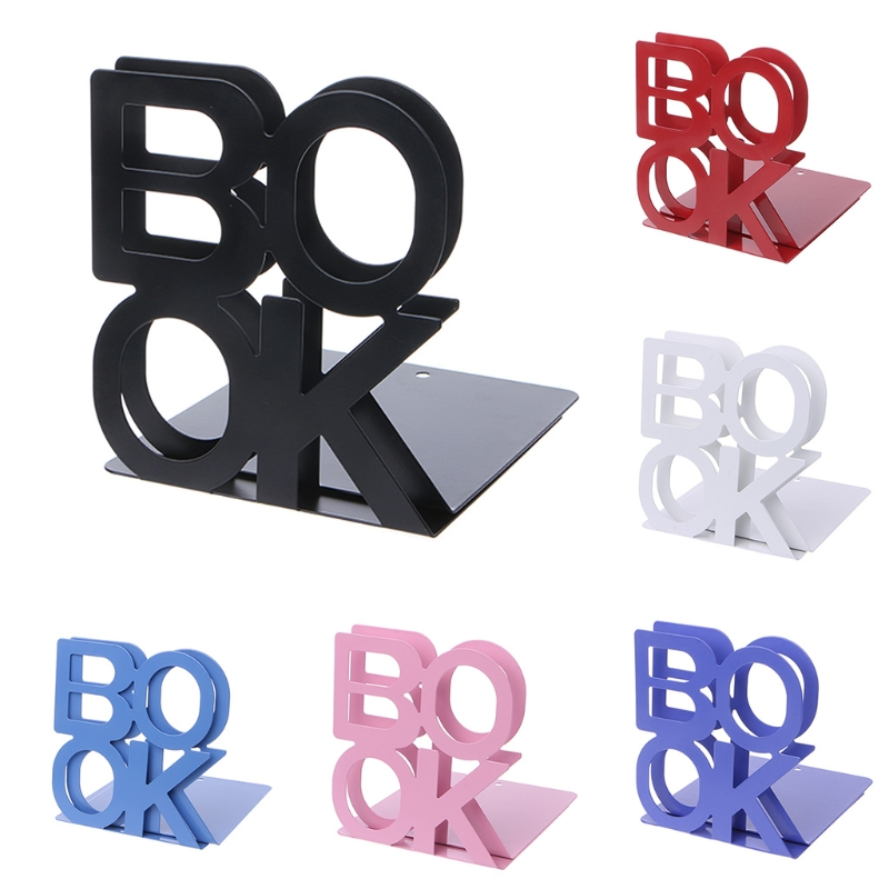 Alphabet Shaped Metal Bookends Iron Support Holder Desk Stands For Books