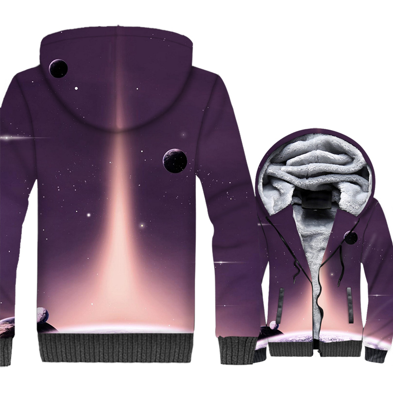 funny starry sky 3D printed hooded tracksuits men thick rib sleeve wool liner coats jackets man sweatshirts 2019 casual clothing