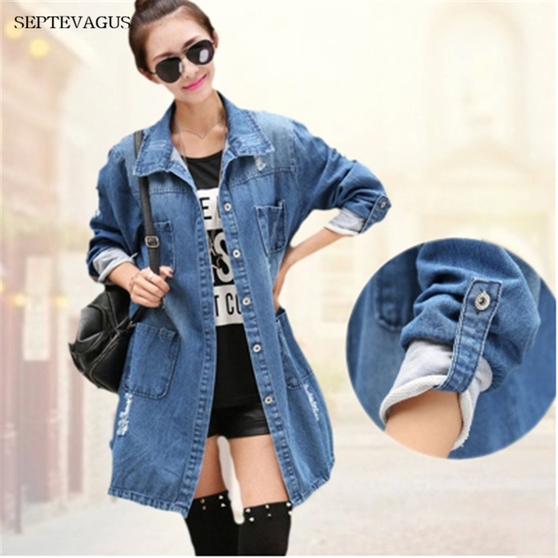 2019 Denim Jackets Oversized Size Denim Coats 4Xl 5Xl Women Hole Boyfriend Style -9804