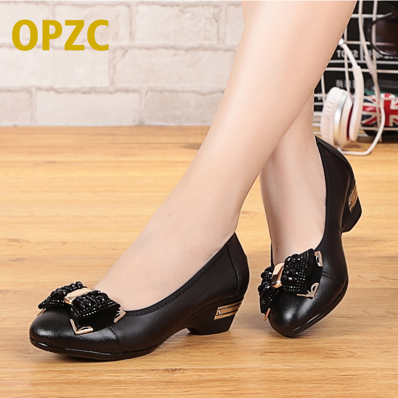 OPZC Classic Women Shoes Casual Pointed Toe Black Shoes Flats Heel Comfortable fashion Slip on Women Shoes Retro Brogues-29221x spring autumn women loafer pointed toe pearl comfortable women flats shoes slip on fashion pu leather women s flat with shoes
