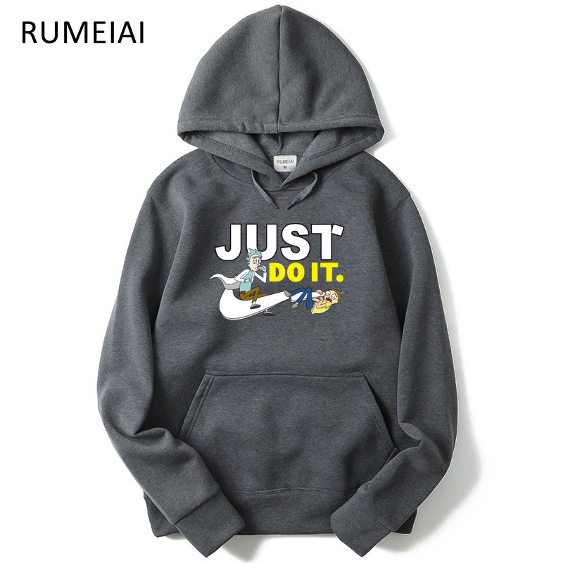 RUMEIAI New Arrival Casual Rick Morty Men Hoodies Anime Peace Among Worlds Folk Printed Homme Rick And Morty Hooded Sweatshirt