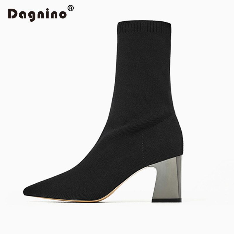 DAGNINO Fashion Ankle Elastic Sock Boots Chunky High Heels Stretch Women Autumn Sexy Booties Pointed Toe Pump Plus Size 40