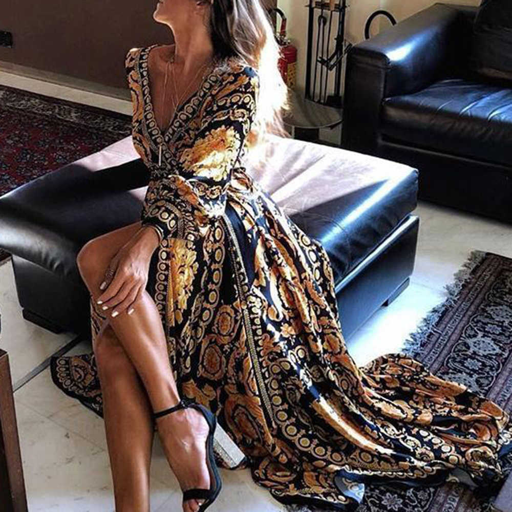 CALOFE Новый стиль Мода Женщины Сексуальная шея блеск Глубокий V шеи печати платье в деловом стиле для вечеринки длинное платье, сексуальная клубная одежда 2019