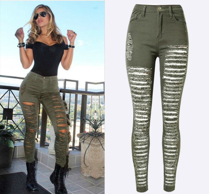 Army Green Fashion High Waist Skinny   Jeans   Women Hollow Out Hole Ripped   Jeans   Femme Push Up England America Denim Mujer 2018