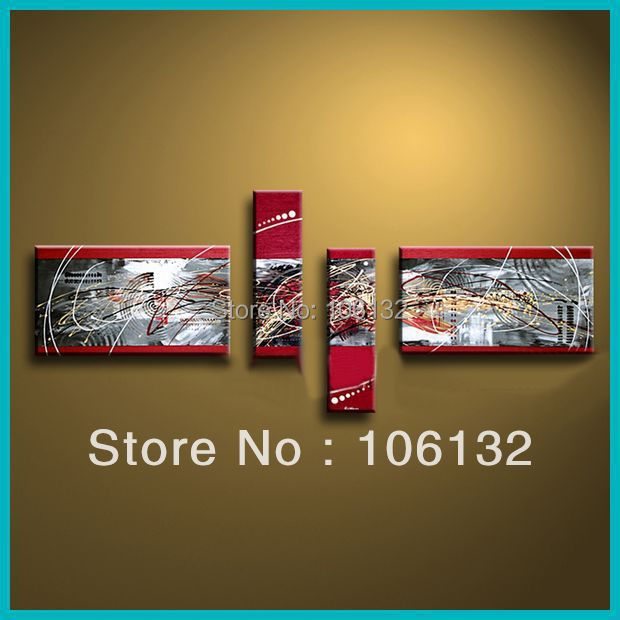 Framed 4 Panel Large High End Amazing 4 Piece Abstract Painting Home ...