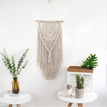 New Hand Knotted Macrame Wall Art Handmade Cotton Hanging Tapestry with Lace Fabrics Bohemian Wedding Decoration