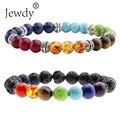 Jewdy 7 Chakra Bracelets Natural Stone Black Lava Beads Bracelet Women Men Balance Yoga Jewelry pulseira feminina Buddha Prayer