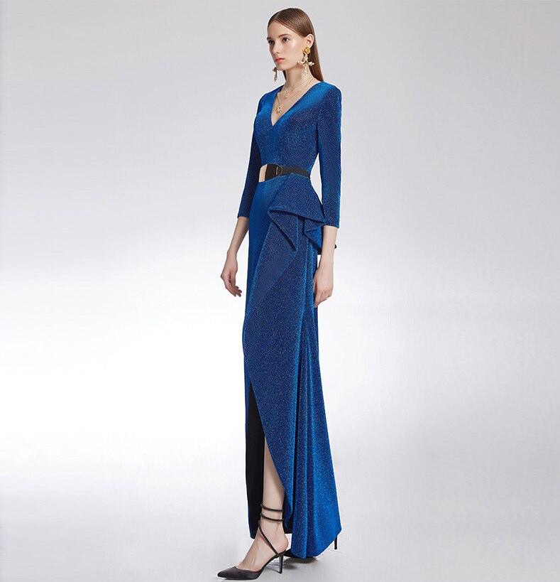 À Nouveau Col Moulante D1706 Sash Femmes De Robe Longues Fente Blue leng Mode Élégant Profond Sexy Renversé Soirée V Cheville Manches rwzwBn