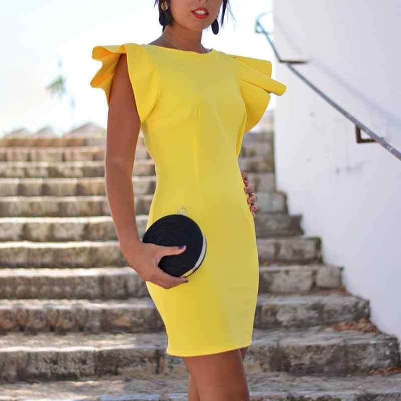 7ba2bef07b8 2019 Summer Women Fashion Yellow Sexy Elegant Party Club Dresses Ladies Mini  Solid Round Neck Ruffles