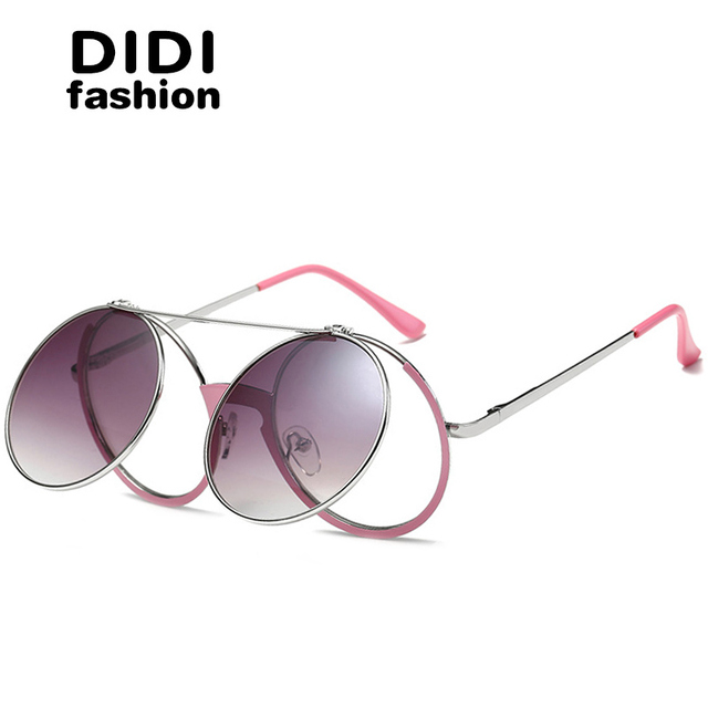 75f05fe4e6f DIDI Lovers Steampunk Flip Sunglasses Flat Top Pink Frame Thin Round Sun  Glasses Rock Clear Lens
