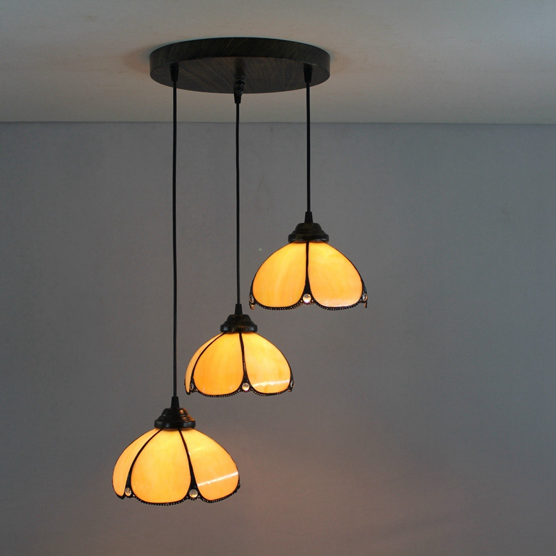 Mediterranean Style 3 Heads Stained Glass Western Style Restaurant Pendant Lights 110 240V Dia43CM Bar Three