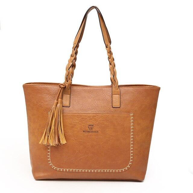 Vintage Women Messenger Bags With Tassel Large Capacity Women Bags Shoulder Tote Bags Famous Designers PU Leather Handbags 1