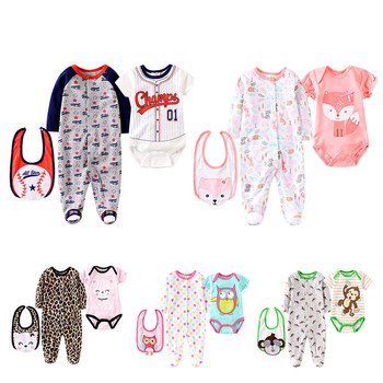 Unisex Baby Footed Overalls Sleep and Play Suits Long Sleeve Jumpsuit Lepord Bibs Soft Cotton Footie Pajamas 3 Pieces Set 0-12M