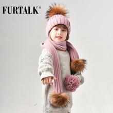 FURTALK חורף ילדי כובע כפה אמיתי דביבון פרווה כובע Pompom צעיף בנות פרווה כובעי נערי כובעי צעיפי HTWL029