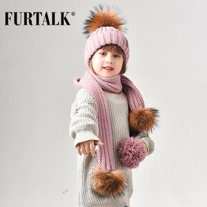 Image 1 - FURTALK gorro de invierno para niños, gorro de piel de mapache Real, y bufanda Gorro con pompón, sombreros de piel para niñas, gorros para niños, bufandas HTWL029