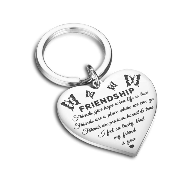 Stainless Steel Friendship Key Chain Pretty Heart Butterfly Friendship Keychain Personalized Jewelry For Your Best Friends