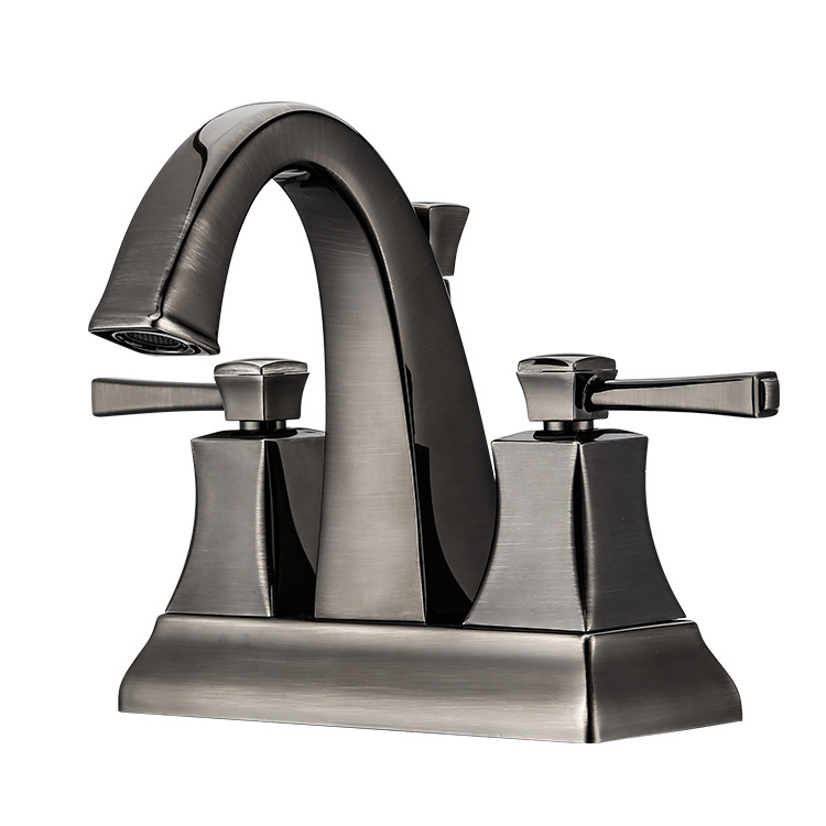 Brass Brushed Blackened Kitchen Faucets Antique Bathroom Faucet Double Handle Single Hole Mixer Taps Hot Cold Water Deck Mount micoe brass faucet single handle single hole kitchen faucet double nozzle water mixer chrome hot and cold water rotating faucet