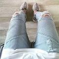 Mens ripped Strech biker jeans Apenada flaco azul claro distrressed marca hip hop streetwear swag kanye west diseñador pantalones