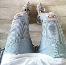Mens Strech ripped biker jeans dünne hellblau Distressed kanye west designer distrressed marke hip hop street swag hosen