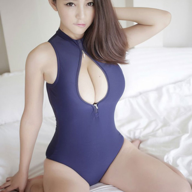 Hot Sexy Japanese Two Way Zipper Open Bust Sexy Swimwear