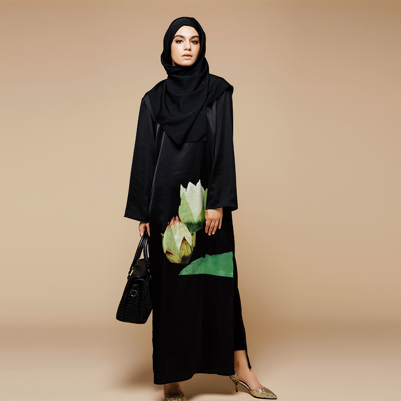 Mode musulman impression Abaya dubaï vêtements islamiques pour les femmes musulmanes Abaya Jilbab Djellaba Musulmane fleurs robe abaya