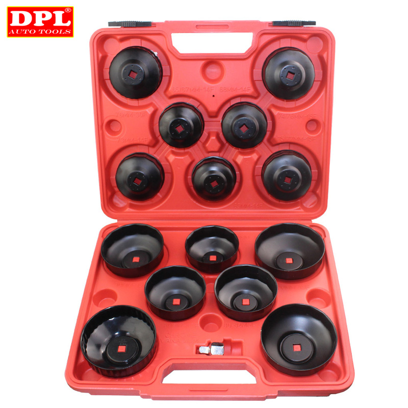15pcs Cap Type Oil Filter Removal Oil Filter Wrench Fuel Filter Tool 45 steel machine oil fuel filter wrench flat jaw oil grid removal tool with a 2 1 to 3 8 adapter filter wrench adjustable