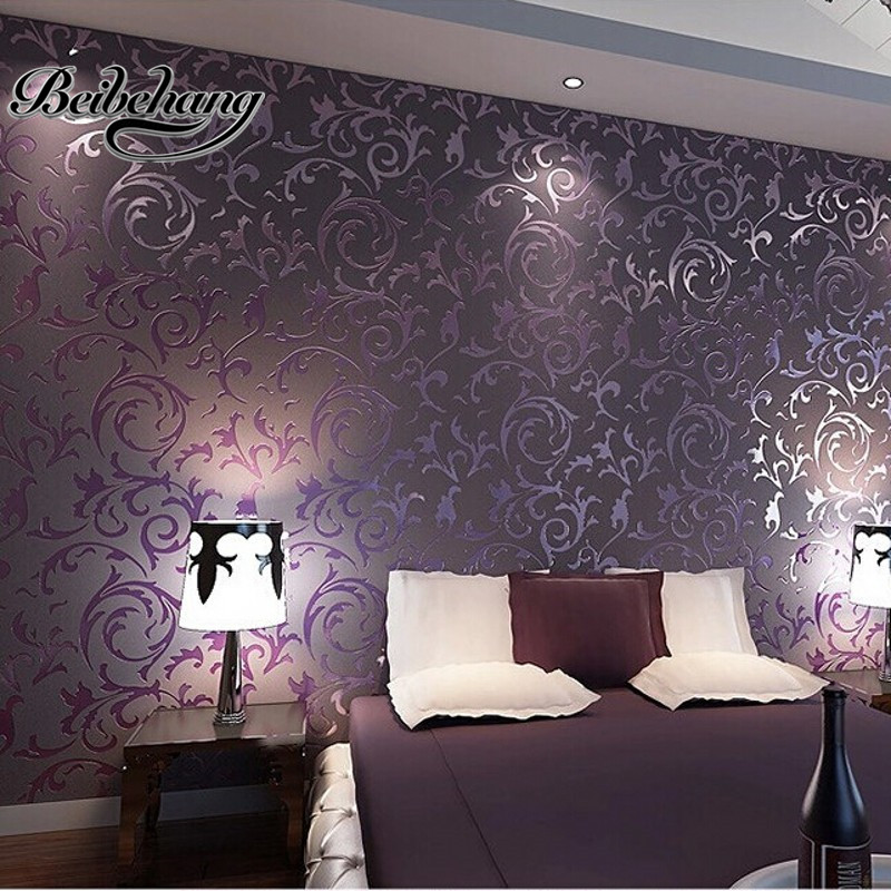 Beibehang wallpaper high quality wallpaper 3d fashion for Purple living room wallpaper